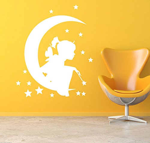 BooDecal Fairy on Moon Removable Wall Murals Stickers Kids Room Wall Decals for Living Room 24 inches x 24 inches