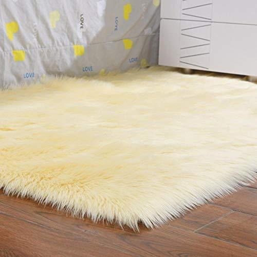 Alfombras peludas de Lujo, Piel de Oveja, Piel de Piel Lisa, Mullido Dormitorio, alfombras de imitación, área Textil Artificial Lavable, alfombras cuadradas, decoración del hogar