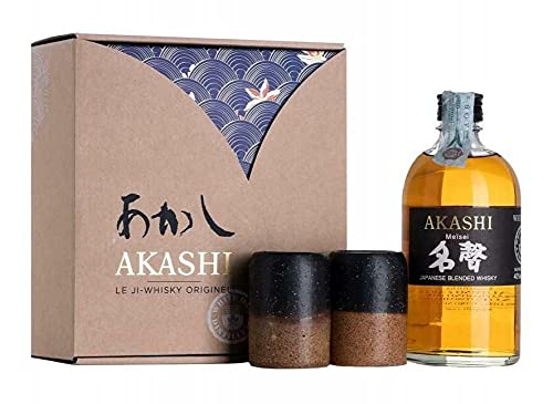 AKASHI JAPANESE BLENDED WHISKY MEISEI WHITE OAK 50 CL CONFEZIONE CON DUE BICCHIERI GIAPPONESI