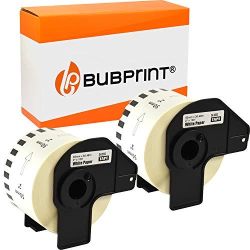 Bubprint Kompatibel Etiketten als Ersatz für Brother DK-22223 DK 22223 für P-Touch QL 500 550 570 700 710W 720NW 800 810W QL820NWB 1050 1060N 50mm x 30,48m Set 2er-Pack