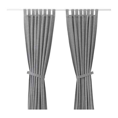 Ikea Curtains with tie-backs, 1 pair, gray 55x98 ', 18214.5295.1614