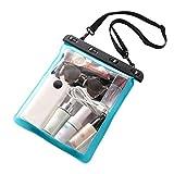 Haia7k4k - Borsa da spiaggia trasparente, in PVC, impermeabile, adatta per nuotare, Blu (Blu lago), Medium