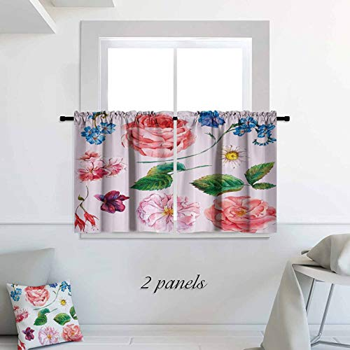 ScottDecor Floral Small Window Tiers Bouquet Set with Rose Daisy Petals and Branches Shabby Chic Vintage Picture 42 x 30 inch Blackout Small Thermal Insulated Window Tier