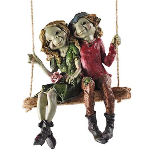 Statuetta raffigurante una coppia di folletti seduti su un'altalena, alta qualità, decorazione da giardino, altezza: 12 cm