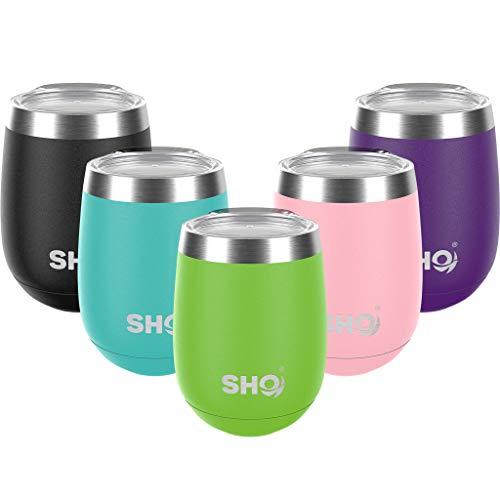 SHO Pacto – Ultimative isolierte Edelstahl-Kaffeetasse & Weinbecher ohne Stiel – 8 Stunden heiß, 12 Stunden kalt – 360 ml – BPA-frei (Geckogrün, 360 ml)