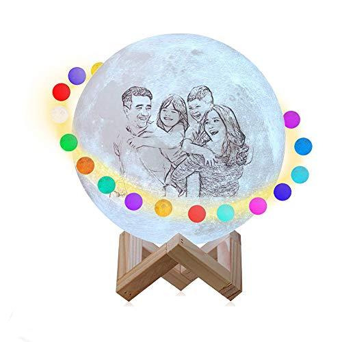 Lámpara de luna personalizada con foto y texto, boceto impreso Moon Globe Light 3/16 colores Lámpara de humor con soporte Control remoto Luz de noche personalizada para fiesta de cumpleaños Navidad