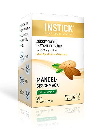 INSTICK | Zuckerfreies Instant-Getränk - Geschmack Mandel | 12-er Packung für 12 x 0,5 L