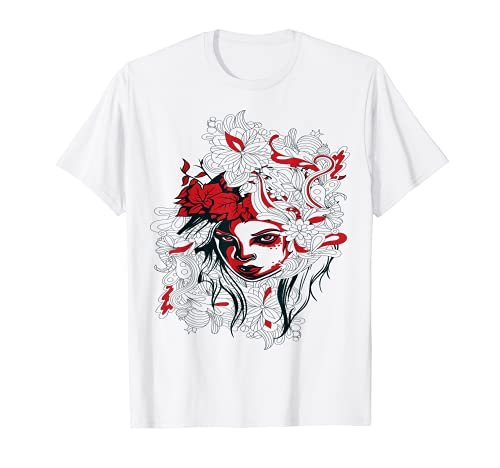 Cara de niña sobre un fondo floral - Camisa Graffiti Camiseta