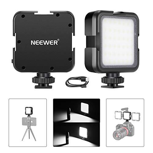 Neewer Luce 42 LED Batteria Ricaricabile 2000mAh con 3 Slitte Coldshoe 6000K Luminosità a 2 Livelli, Compatibile con DJI Ronin-S OSMO Mobile 2 Zhiyun WEEBILL Smooth 4 Gimbal Reflex Digitali Nikon