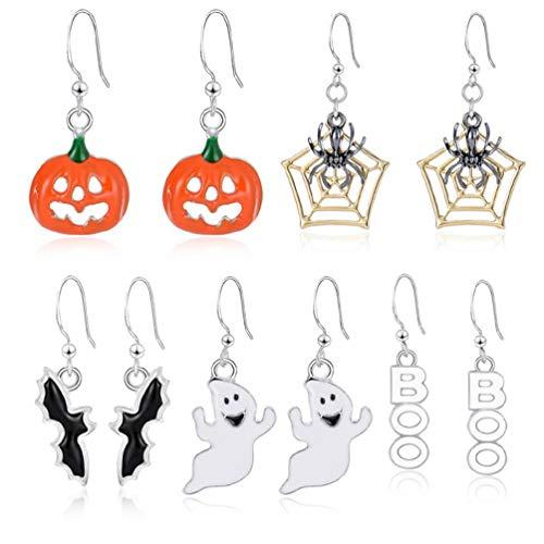Juego de 5 pares de pendientes colgantes de Halloween con diseño de calabaza, fantasma, esqueleto para mujer, utilidad para usar limpiador