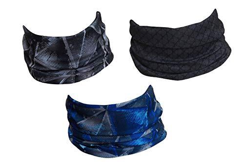 Hilltop 3 x Motorrad Multifunktionstuch, Kopftuch, Halstuch, Bandana 3-er Set in ausgewählten Designs, 3er Set/Farben:Grau Blau