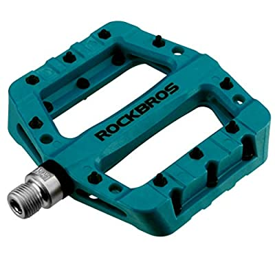 "ROCKBROS Lightweight Mountain Bike Pedals Nylon Fiber Bicycle Platform Pedals for BMX MTB 9/16"" (Blue)"