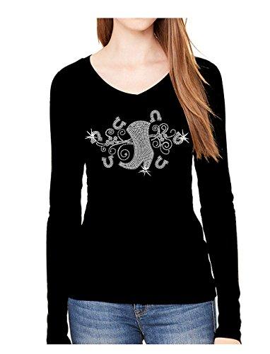 Rockeroo Boutique Cowgirl Boots Angel Wings Rhinestone Womens Cowboy V Neck Long Sleeve Tee Shirt (s) Black
