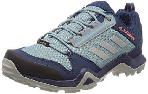 adidas Womens Terrex AX3 GTX Walking Shoe, Tech Indigo/Grey/Signal Coral, 40 2/3 EU