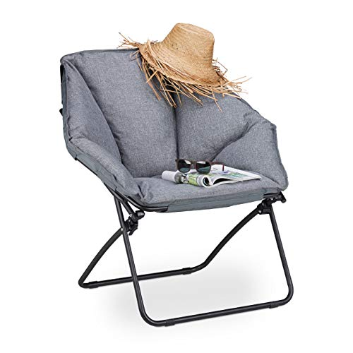 Relaxdays, Gris, Silla Camping Plegable Moon Chair XXL, Acer