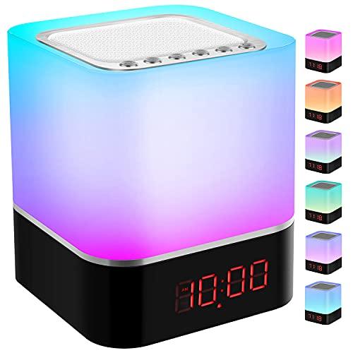 Luces nocturnas Altavoz Bluetooth, StillCool Lámpara de Noche Que Cambia de Color, Reloj Despertador Digital, Luz de Noche Multicolor RGB Regulable, Regalos para Niños Adolescentes (Colores)
