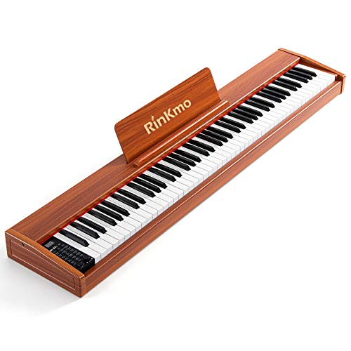 Rinkmo 88 Key Beginner Digital Piano, Full Size Semi Weighted Keyboard, Sustain Pedal, Power Supply, Built-In Speakers, Music Stand