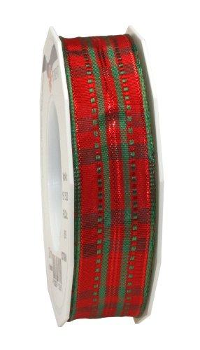C.E. Pattberg Präsent Nottingham - Roll con Cappio Metallico (taffetà 25 mm x 20 m), Motivo a Righe, Rosso e Verde