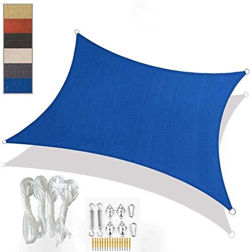 Toldo Vela de Sombra Triangle Sun Shade Sail HDPE HDPE impermeable Sun Shade Canopy con kit de fijación Bloque de UV Bloque de protección solar conjuntos de protección solar con toldos con cuerda libr