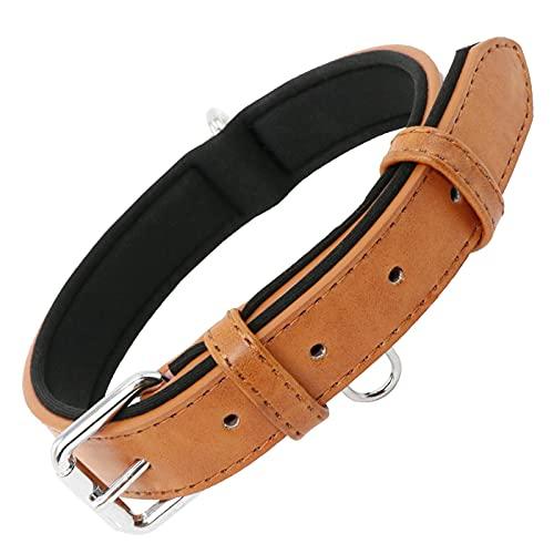 Grand Line Collar de Perro de Cuero Duradero Acolchado Suave con Perforador de Agujeros, Marrón(M)