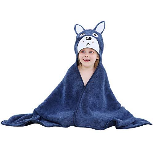Topchances Toalla con capucha para niños, 120 x 70 cm, toalla de baño suave para bebés, manta de baño de dibujos animados de secado rápido para playa, piscina, viajes y hogar (azul)