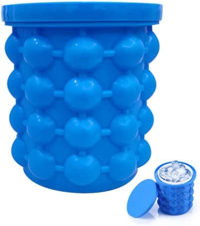 ALLADINBOX Ice Cube Mold Ice Trays Large Silicone Ice Bucket 2 in 1 Ice Cube Maker Round Portable product image