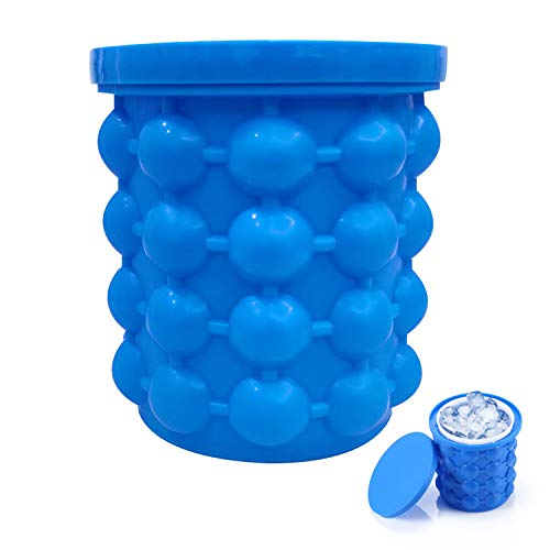 ALLADINBOX Ice Cube Mold Ice Trays, Large Silicone Ice Bucket, (2 in 1) Ice Cube Maker, Round,Portable (Dark blue)