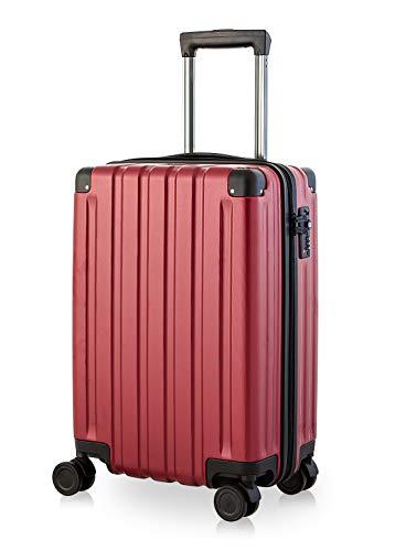 Happy Trolley - Dubai DXB Handgepäck Kabinentrolley Bordgepäck Hartschalen-Koffer Trolley Reisekoffer, sehr leicht, TSA, 55 cm, 40L, Burgund
