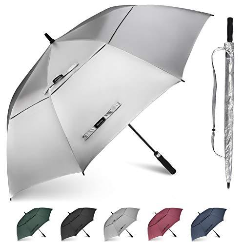 Gonex Sturmfest Golf Regenschirm 62 Zoll Groß XXL, UV-Schutz, Automatischer Offener Regenschirm mit Winddichtem, Wasserabweisendem Doppelverdeck, Eva-Griff,für 2-7 Männer, Silberner Sol-Schicht
