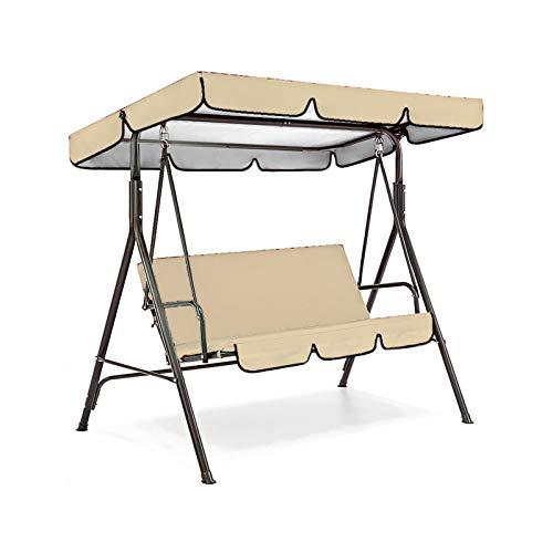 Funda de asiento para mecedora + cubierta superior de lona de balancín, resistente al agua y a la lluvia, cubierta superior de toldo Sunshade para terraza, jardín, exterior (164 x 114 x 15 cm, beige)