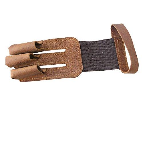 Toparchery Schießhandschuh 3 Finger-Schutz schöner Handschuhe aus echtem Leder für Bogenschießen Bogen Fingerschutz Handschoner (Braun)