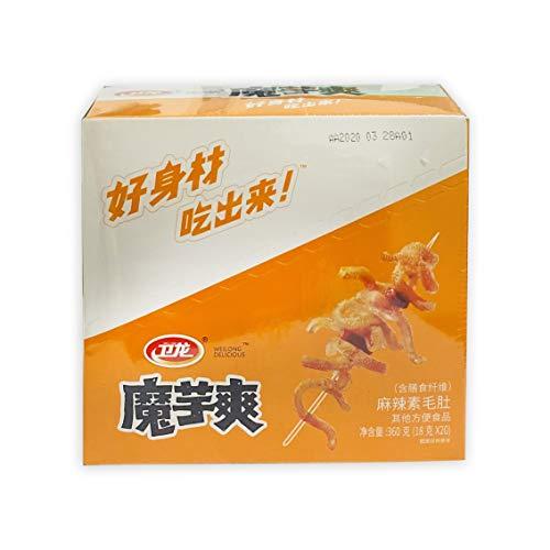 WeiLong Chinese food snack 卫龙 中国小吃零食 系列 (Beancurd products魔芋爽 (麻辣)20 x 18g (盒), Pack of 2)