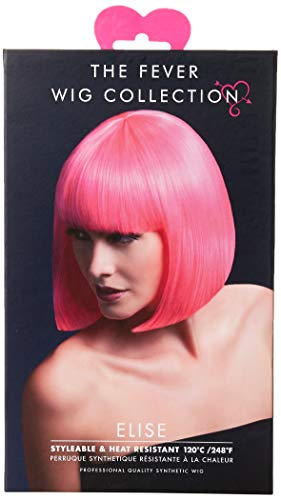 Fever Damen Glatter Bob mit Pony Perücke, 33 cm, Elise Perücke, Neon Pink, One Size, 42565
