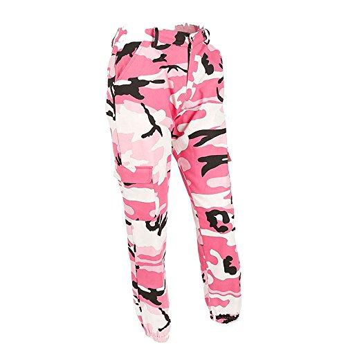 Sunenjoy Pantalons de Sport Femme Legging Taille Haute Crayon Pantalon Camouflage Casual Cargo Joggers Pantalon Hip Hop Rock Trousers Classique Grande Taille S-5XL (XL, Rose 2)