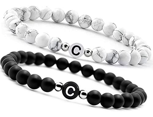 2 Armband mit Buchstabe partnerarmbänder perlen 1 Onyx und 1 Howlith Naturstein pärchen armband für Herren und Damen (C)