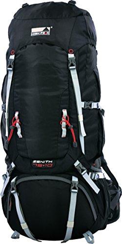 High Peak Trekking-Rucksack Zenith 75+10 Liter, Unisex, Rückensystem verstellbar, Regenhülle/Transportschutzhülle, Tourenrucksack, schwarz, Camping, Backpacking, Reiserucksack, Frontöffnung, 2300g