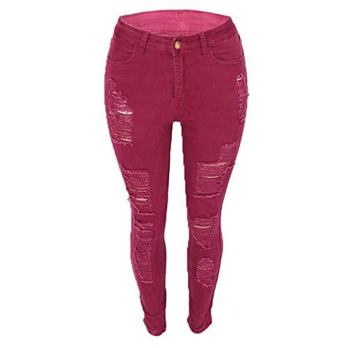Vexiangni Pantalones vaqueros para mujer, corte ajustado, desgarrados, con agujeros, elásticos, cintura alta, para mujer, Vino, XL