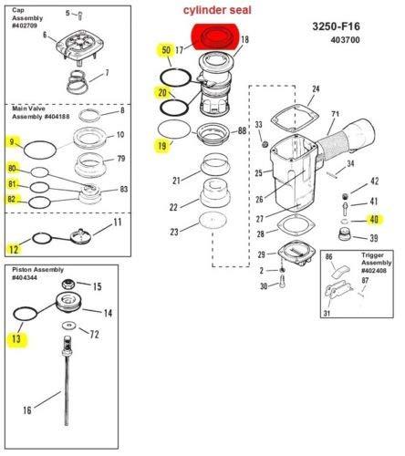 O ring + Cylinder Seal Part # 402725 Kit for Paslode 3250 F16 Finish Nailer