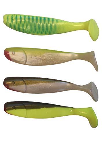 SANDAFishing 4 cebos de goma para luciopercas Jankes de 16 cm – Relax Kopyto Shad – Cebo de pesca de goma para lucioperca, bacalao y siluro (16 cm, mezcla de colores 4)
