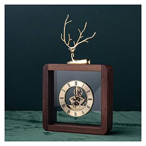Reloj Despertador Reloj de mesa de escritorio numérico romano reloj de mesa de decoración de noche retro también se puede utilizar como un espejo de cristal de reloj de manto, 11 pulgadas Reloj de Esc