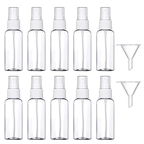 10 Pezzi (50ML) Trasparente Bottiglie Spray, MOCOCITO Flaconi Spray da Viaggio in Plastic Fine Nebbia Bottiglia con 2 Piccolo Imbuto, Dispenser per Acqua Nebulizzatore 【Spedire dall'Italia】