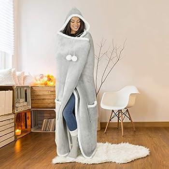 Safdie & Co. Hooded Blanket Throw Wearable Cuddle, 51