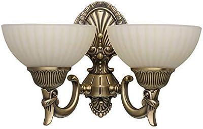 MW-Light Applique murale classique à 2 lampes en métal couleur laiton et abat-jours en verre brossé couleur de vanille pour salon 2x60W E27