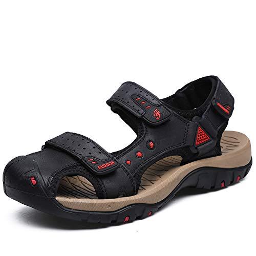 Sandalias de hombre para deportes al aire libre con cierre de velcro, sandalias de trekking de piel, sandalias de senderismo, antideslizantes, verano EU 38-48, color Negro, talla 41 EU