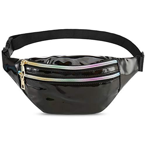 Qisiewell Mode-Bauchtasche Wander-Hüfttasche Sport-Gürteltasche 3 Fächer Reißverschluss Verstellbarer Gurt Damen/Herren (Schwarz)