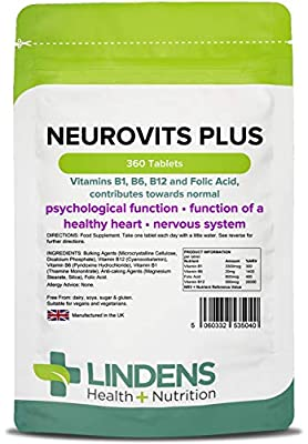 Neurovits Plus (Vitamins B1 B6 B12 & Folic Acid) 360 Tablets from Lindens Apothecary
