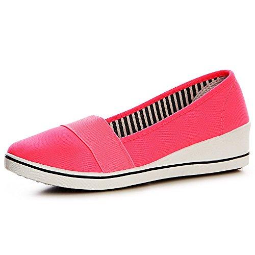 topschuhe24 1352 Damen Keilabsatz Sneaker Ballerina Slipper Turnschuhe Pumps Sportlich, Größe:40 EU, Farbe:Neon Pink