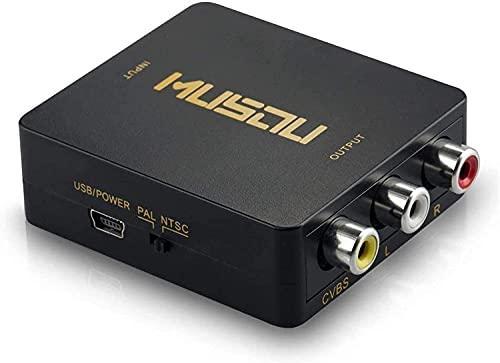 HDMI a RCA,1080P HDMI a AV 3RCA Convertidor de vídeo Compuesto de...