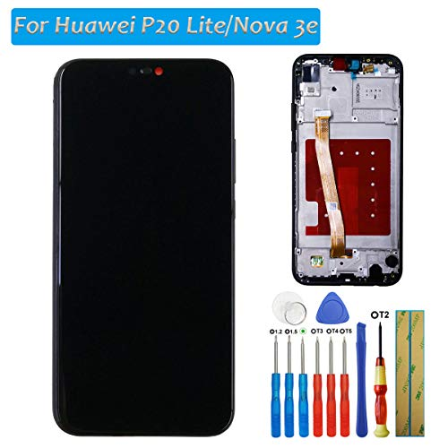 melphyreal para Huawei P20 Lite LCD Pantalla Táctil digitalizador LCD Negro Cristal Negro + Marco + Herramientas