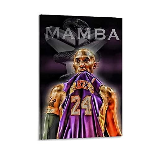 Ghychk Póster de baloncesto Superstar Art Collection Kobe-Bean-Bryant Lienzo impresos, pintura abstracta moderna decoración del hogar para dormitorio 40 x 60 cm